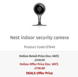 Nest indoor security camera Back in stock - £107.99 @ Woseley