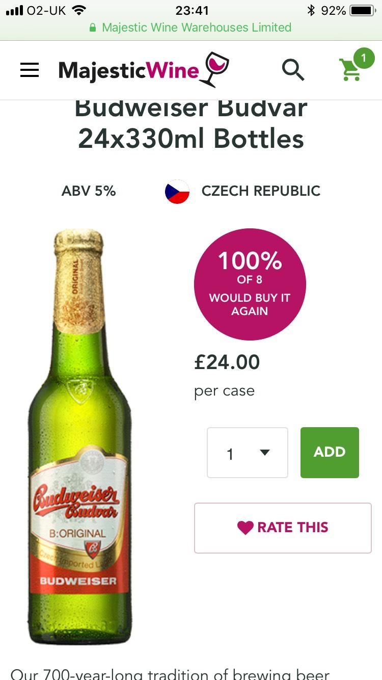 Budweiser Budvar for only £1 per bottle £24 per case @ Majestic