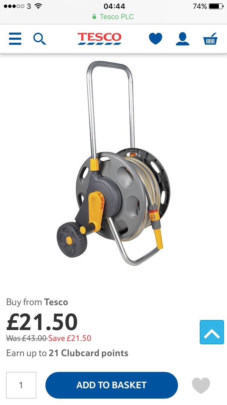 Hozelock Hose Reel Cart with Hose, 20m - £21.50 at Tesco