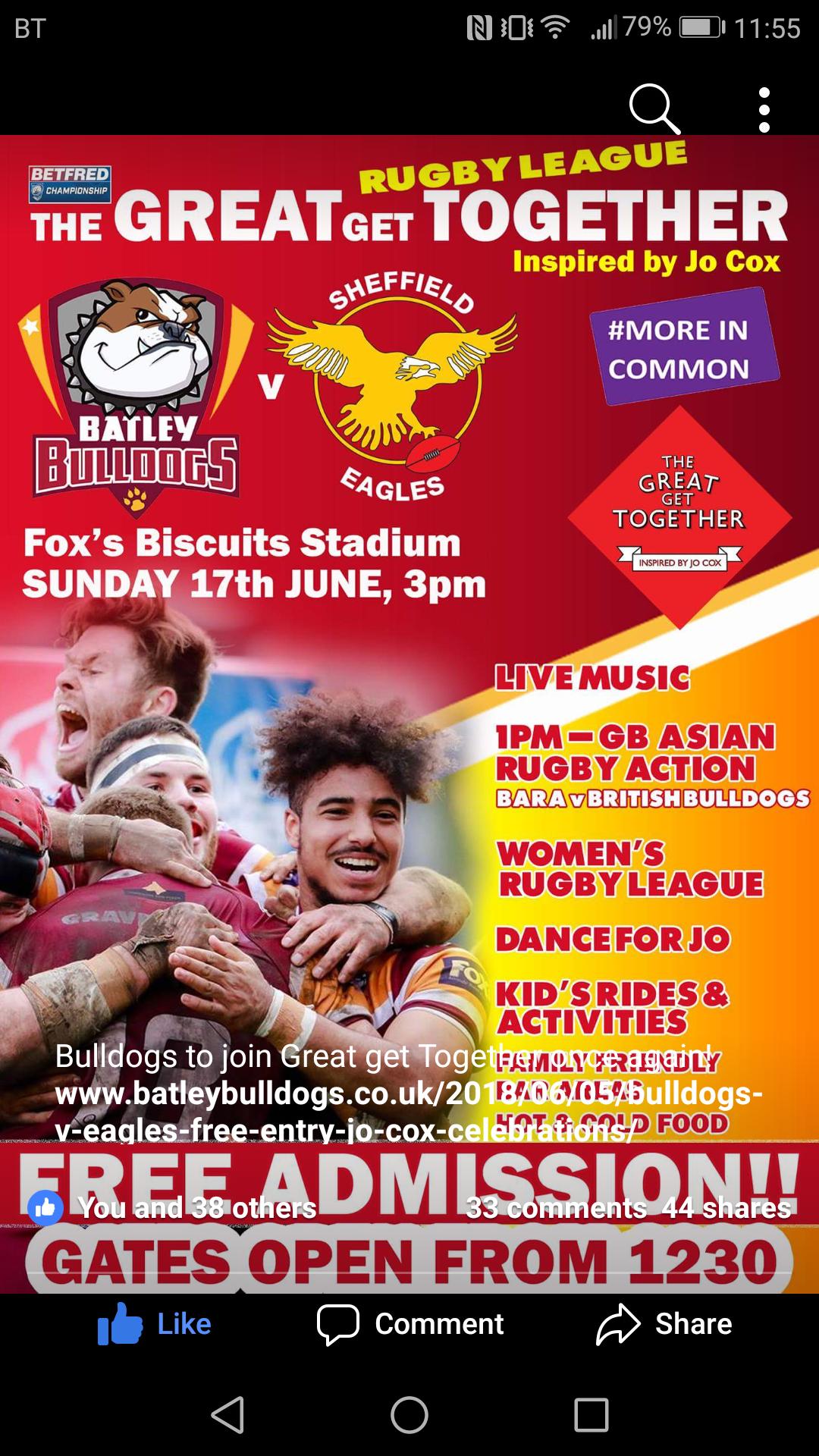 Free Rugby League - Batley Bulldogs v Sheffield Eagles