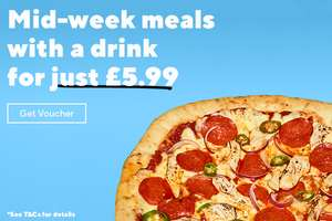 Mid week meal and a drink inc wine or beer for £5.99 until Thursday 7th @ Frankie and Bennys