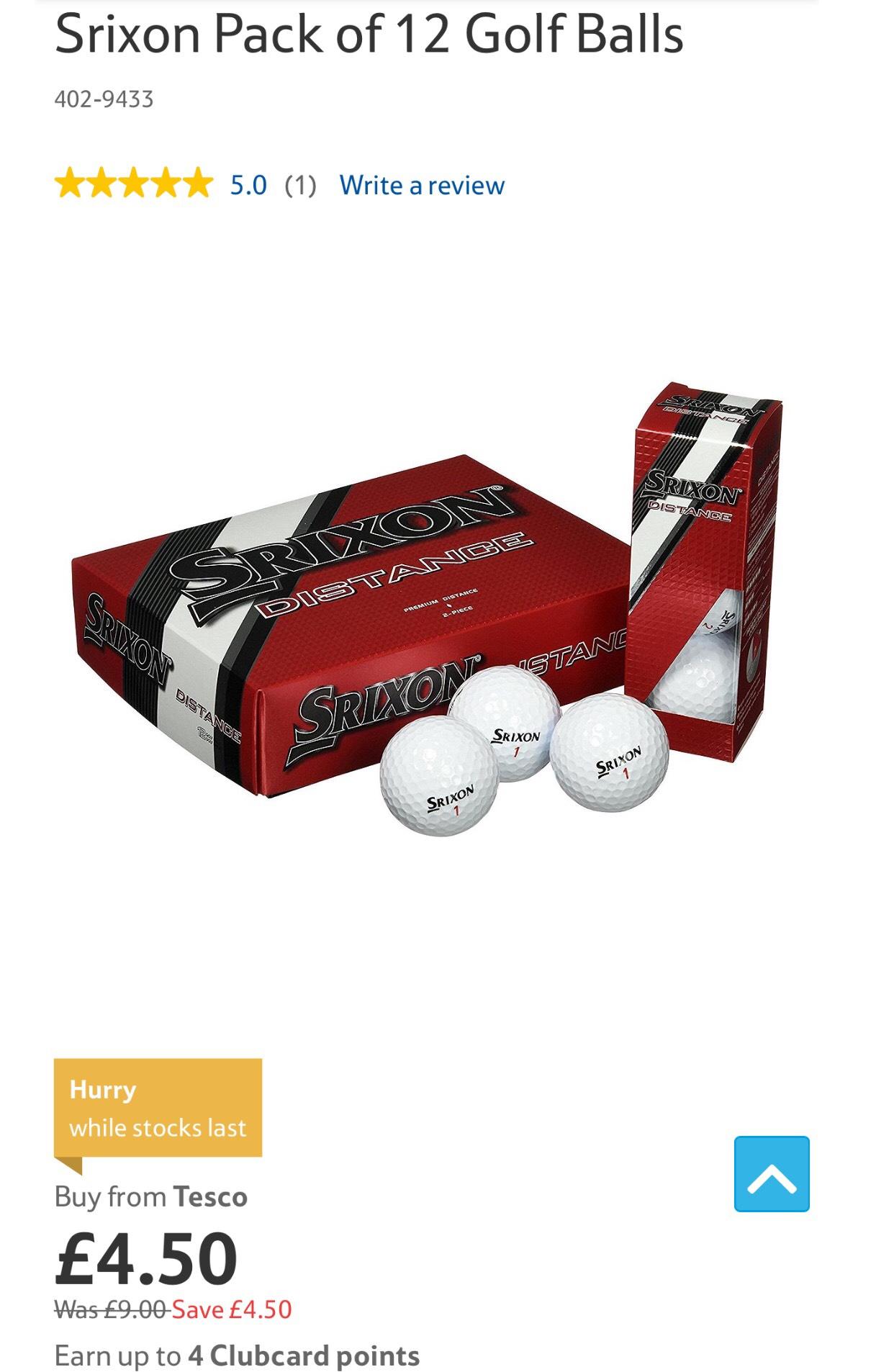 Srixon Distance Golf Balls £4.50 @ Tesco direct - Free c&c