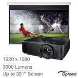 "Optoma HD143X and DS-9092PWC 92"" manual pull down screen £449.89 @ Costco"