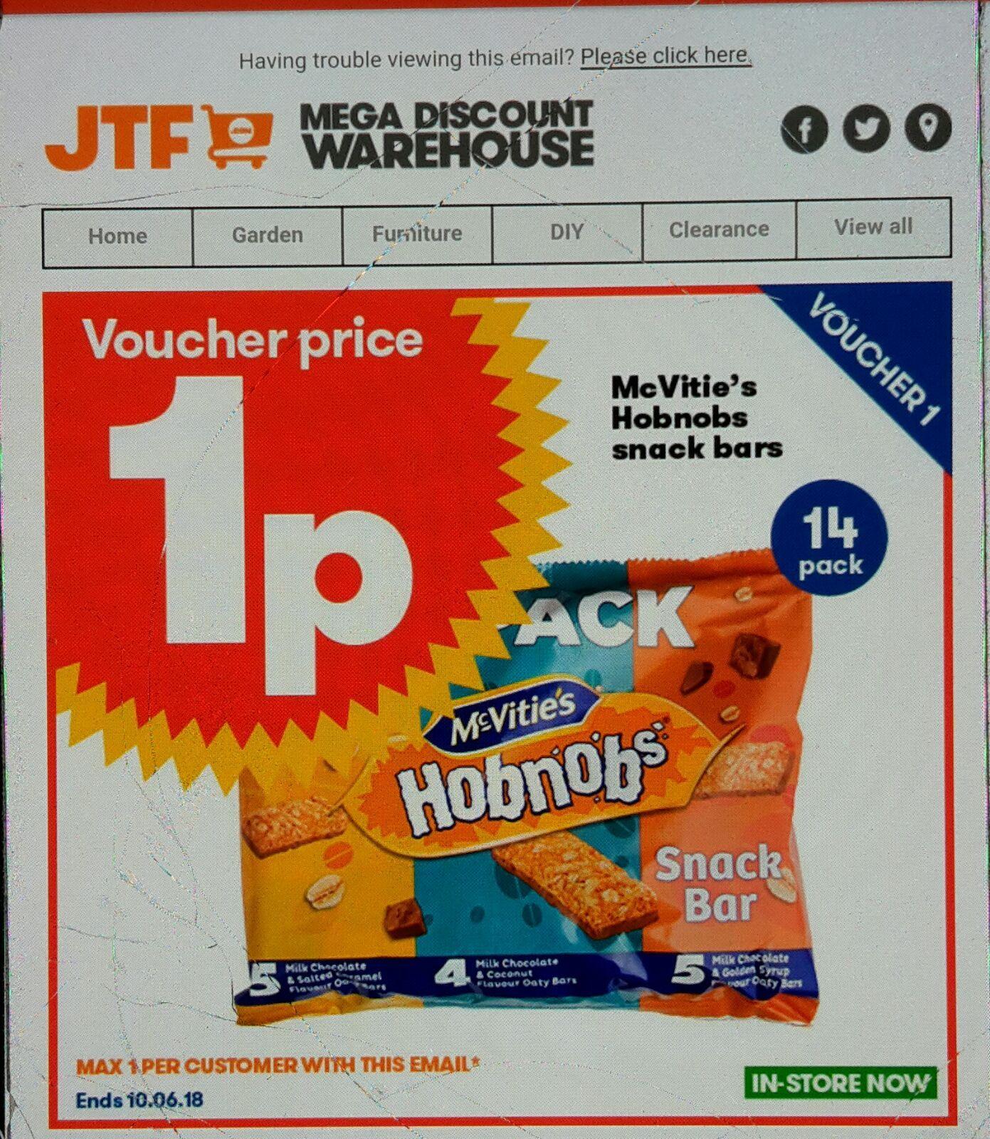 McVities Hobnobs snack bars 1p instore @ JTF