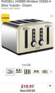 Russell Hobbs 4 Slice Toaster (3 Colours) £19.97 @ Currys - c&c only