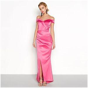 Debut women's pink satin 'cleo' bardot neck  full length maxi dress £105 @ ebay debenhams