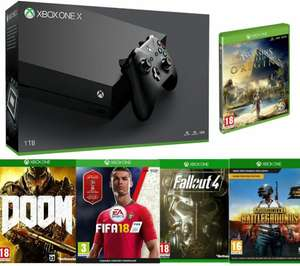 MICROSOFTXbox One X with Doom, Assassin's Creed, PlayerUnknown's Battlegrounds, Fallout 4 & FIFA 18 Bundle £449.99 @ PCWorld