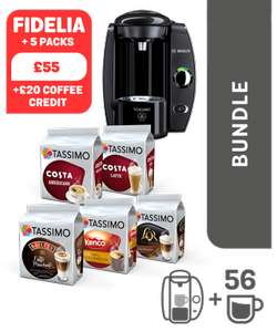 Tassimo Black Fidelia/Vivy + 5 (3 for Vivy) packs of coffee & £30 credit + 12% TCB - £44.99 Delivered @ Tassimo