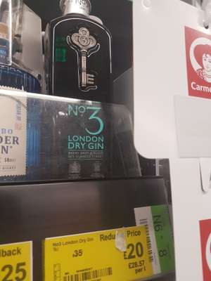 No 3 London Dry Gin 0.7l £20 instore in Asda