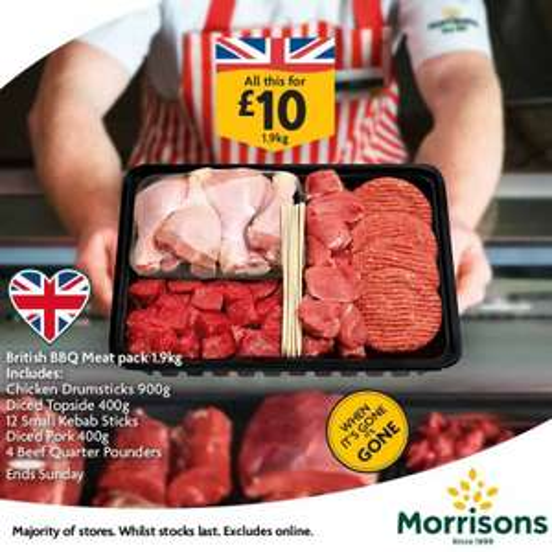 1.9kg British BBQ meat pack £10 instore @ Morrisons