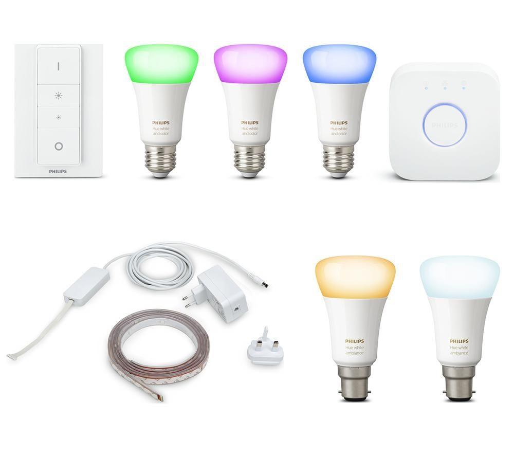 PHILIPS Hue White & Colour E27 Smart Bulb Kit, LightStrip Plus & White B22 Wireless Bulbs Bundle - £199.99 @ Currys