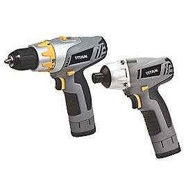 TITAN TTP508KIT 10.8V 1.3AH LI-ION CORDLESS DRILL DRIVER & IMPACT DRIVER TWIN PACK @ screwfix £49.99