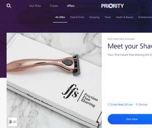 First hassle free shaving kits for £3.95 saving £10 with O2 Priority at ffs.co.uk