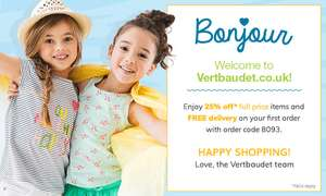 25% off Full Priced items plus free Delivery for New customers with code @ Vertbaudet