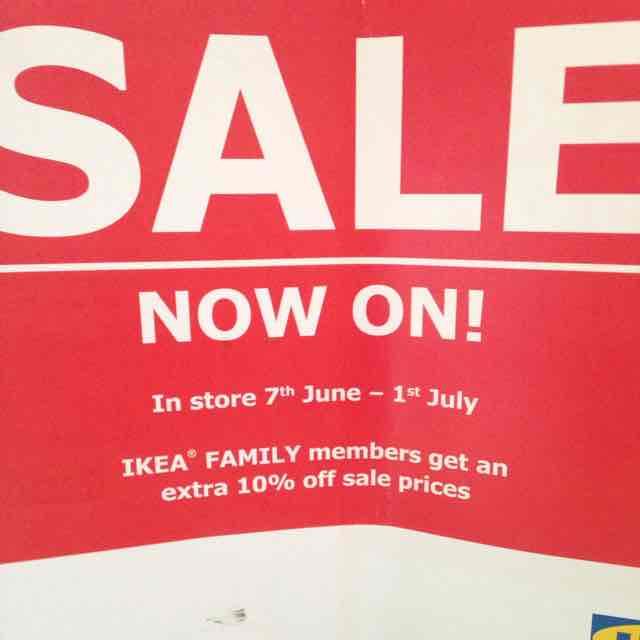 Ikea in store sale on now till 1 July