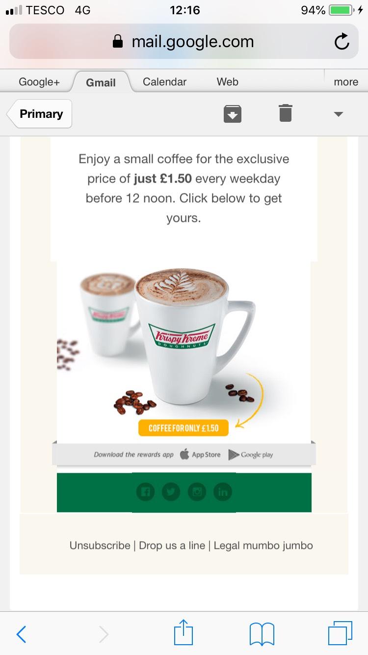 Krispy Kreme small coffee before 12pm £1.50