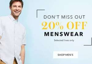 20% off over 700 items of menswear online only with free click and collect items from £1.60 @ Asda George