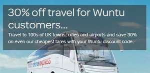 30% off National express with Wuntu  (+Three people travelling with you)
