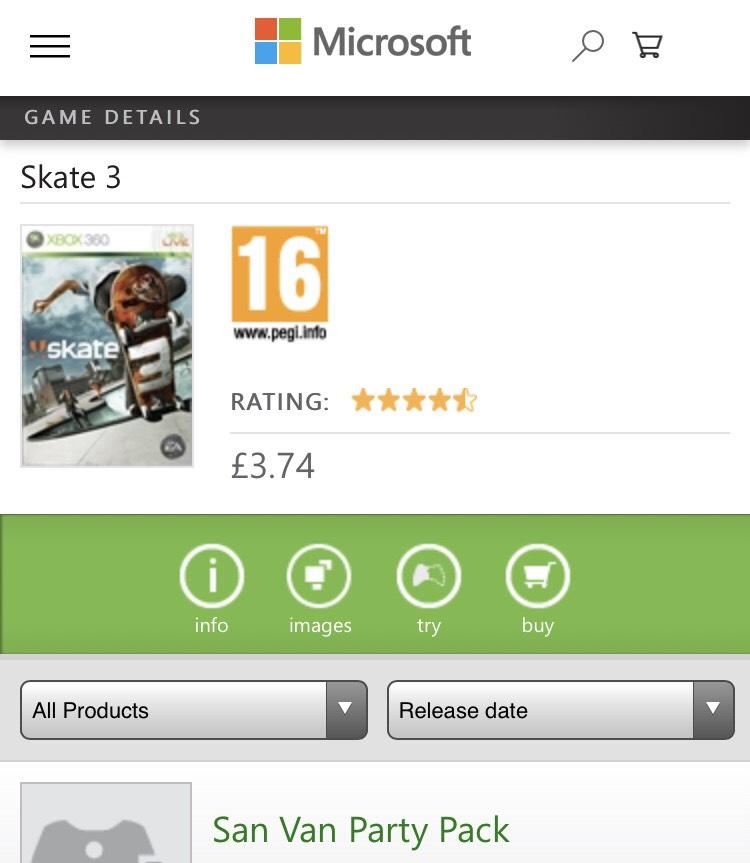 Skate 3 (360/XB1) - £3.74 on Xbox Store