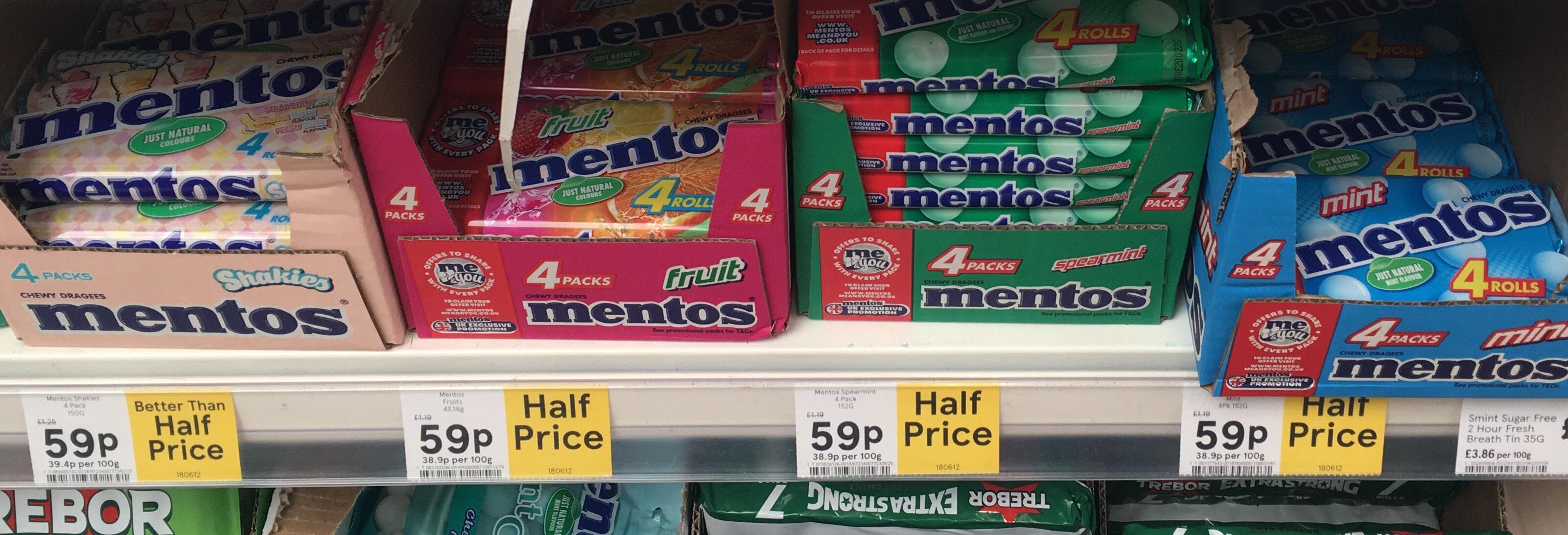 Mentos 4 pack - 59p instore @ Tesco Crewe
