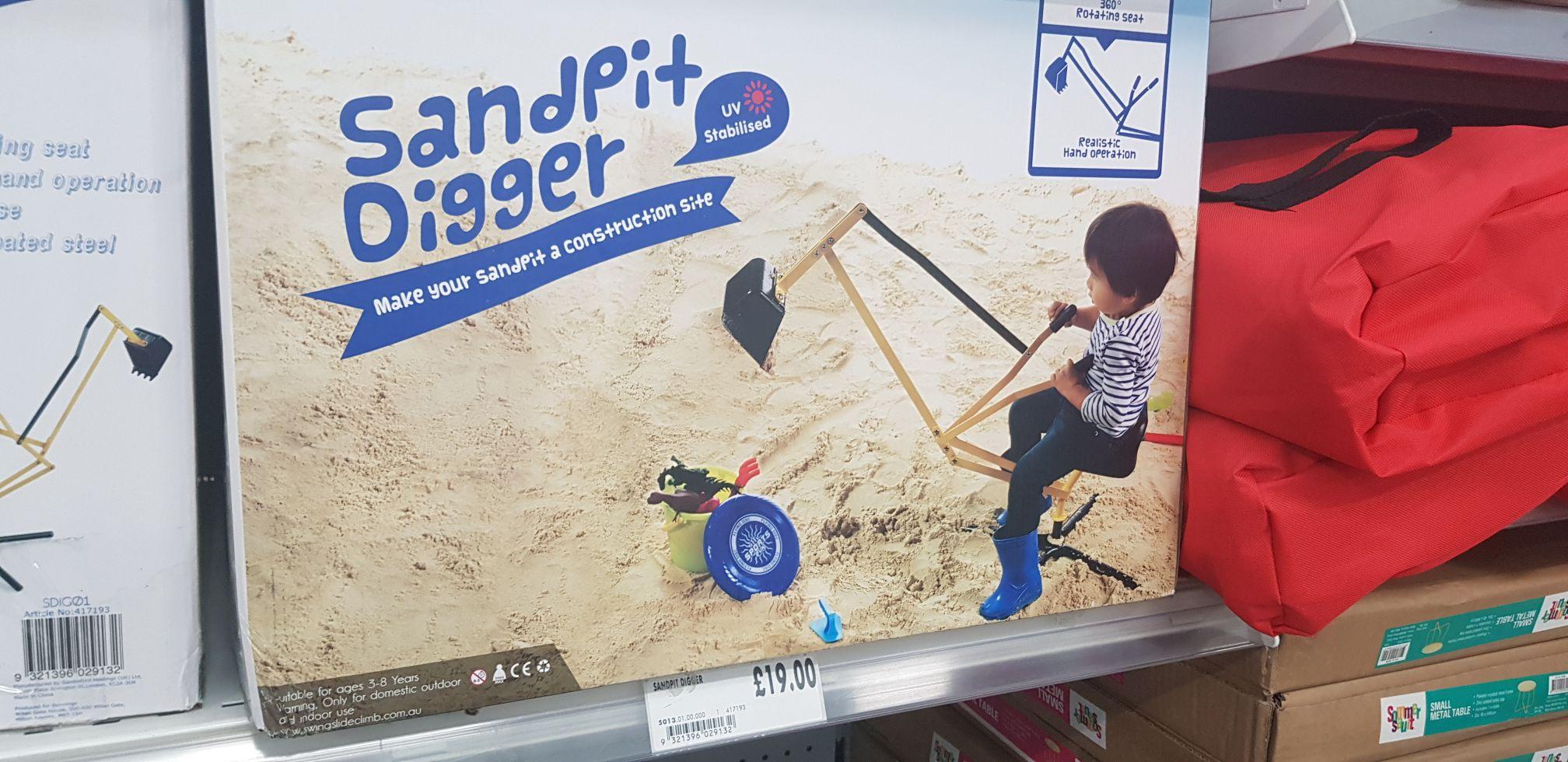 Sand pit mini digger £19 homebase
