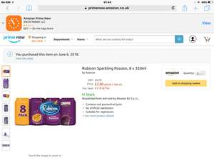 Rubicon passion fruit 8 pack £2 on Amazon Prime Now (+£3.99 delivery)