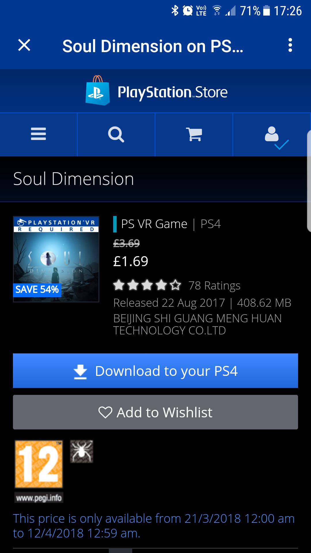 Soul dimensions Psvr - £1.69 @ PSN