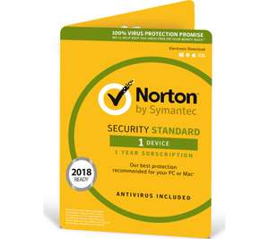 NORTON Security 2018 - 1 year for 1 device - £11.99 @ currys