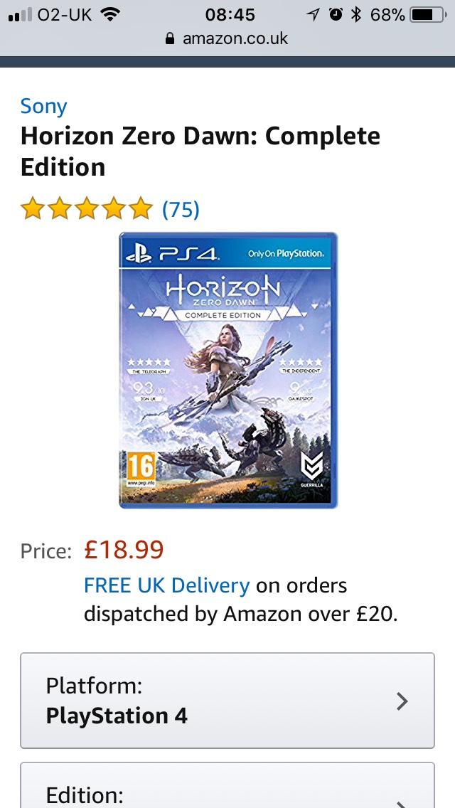 Horizon zero dawn : complete edition £18.99 (Prime) / £21.98 (non Prime) at Amazon