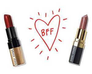 Offer stack - buy a lipstick get free mini eye opening mascara, 2 mini lipsticks, choice of deluxe sample and free delivery @ Bobbi Brown
