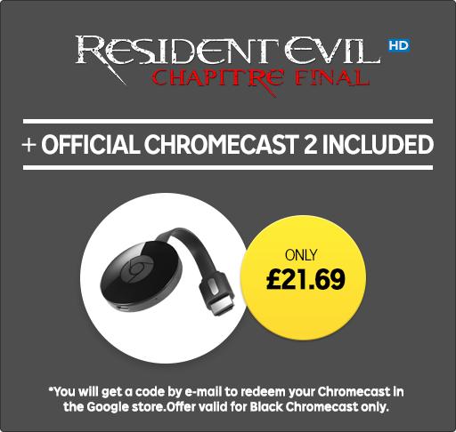 Google Chromecast + Resident Evil: The Final Chapter HD Rental - £21.69 @ Rakuten