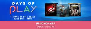 Days of Play Sale at PlayStation PSN Store* Examples - Last of Us Remastered £7.17 GTA V £14.34 Uncharted 4 £14.34 Horizon Zero Dawn Complete Edition £14.34 Shadow of the Colossus £14.34 Nathan Drake Collection £7.17 [PSN US/Canada]