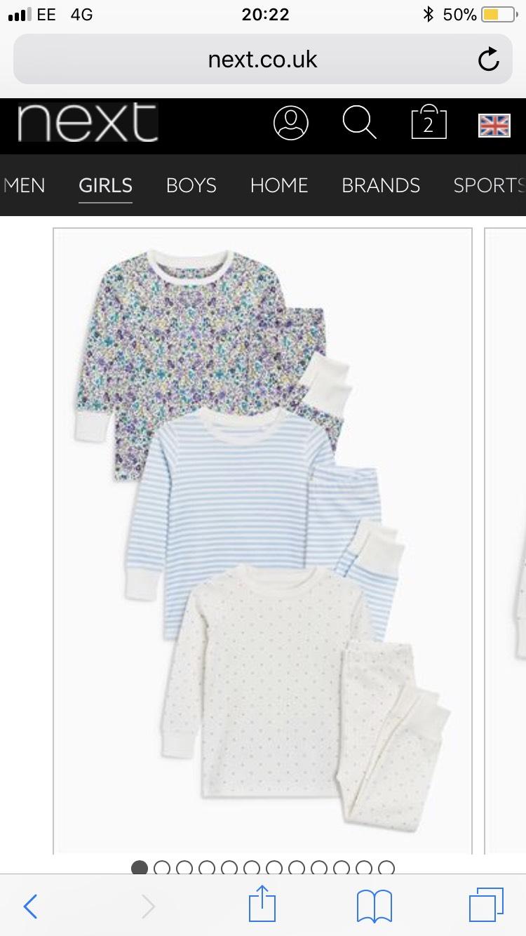 Next Girls 3 pack pyjamas reduced to £11 (free C&C)