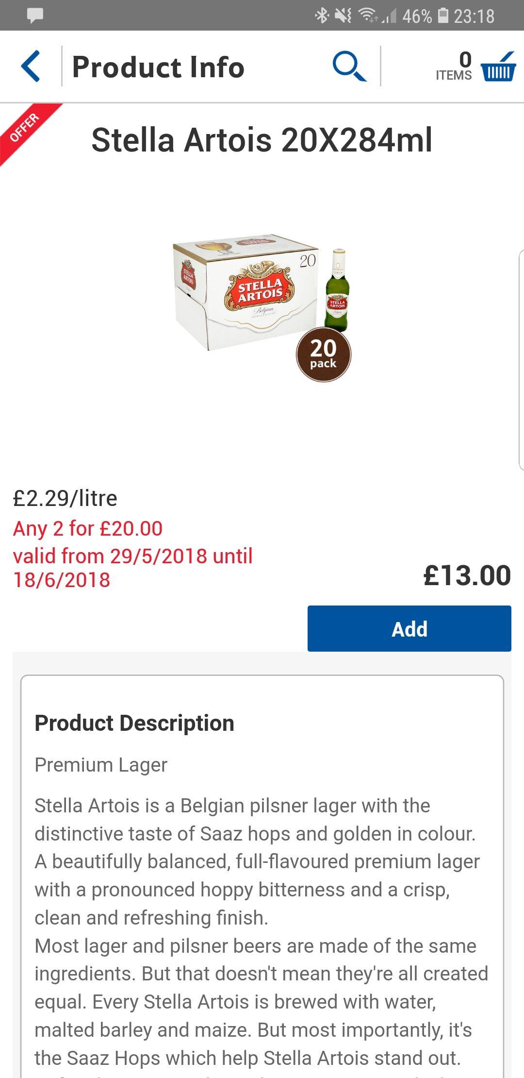 40 Bottles of Stella Artois 284ml £20 online and instore @ Tesco