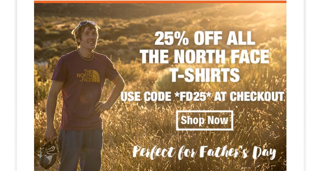 25% off The North Face T-Shirts at Ellis Brigham
