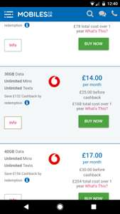 Vodafone SIM only with Red Entertainment. 30GB data £25 p/m 12 months £300 (£132 cashback by redemption) @ Mobiles.co.uk