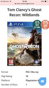 Tom Clancy's Ghost Recon: Wildlands £14.23 new £11.99 Used @ Music magpie
