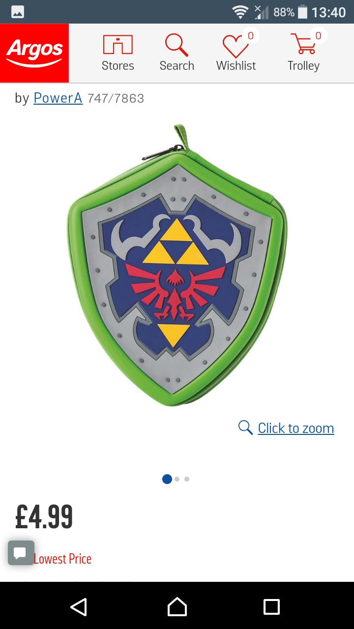 Legend of Zelda Hylian Shield DS/3DS/2DS Case £4.99 @ Argos
