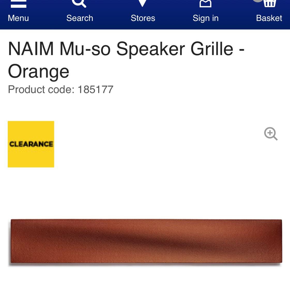 Naim Mu-so speaker grille Orange at Currys for £19.97