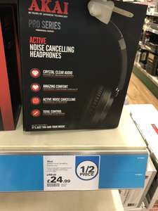 Akai Noise-cancelling headphones £24.99, rechargeable, over-ear, online and in-store @ Robert dyas