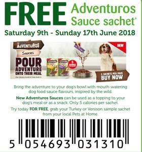 Free Adventuros Dog Food Sauce (collect from Pets At Home)