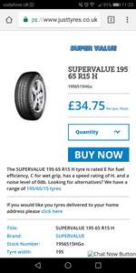 195 65 15 budget tyres fitted and balanced £34.75 @ Just tyres