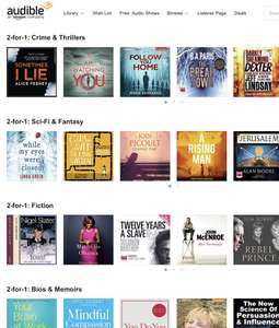 Audible 2 for 1 on a Selection of Audiobooks.