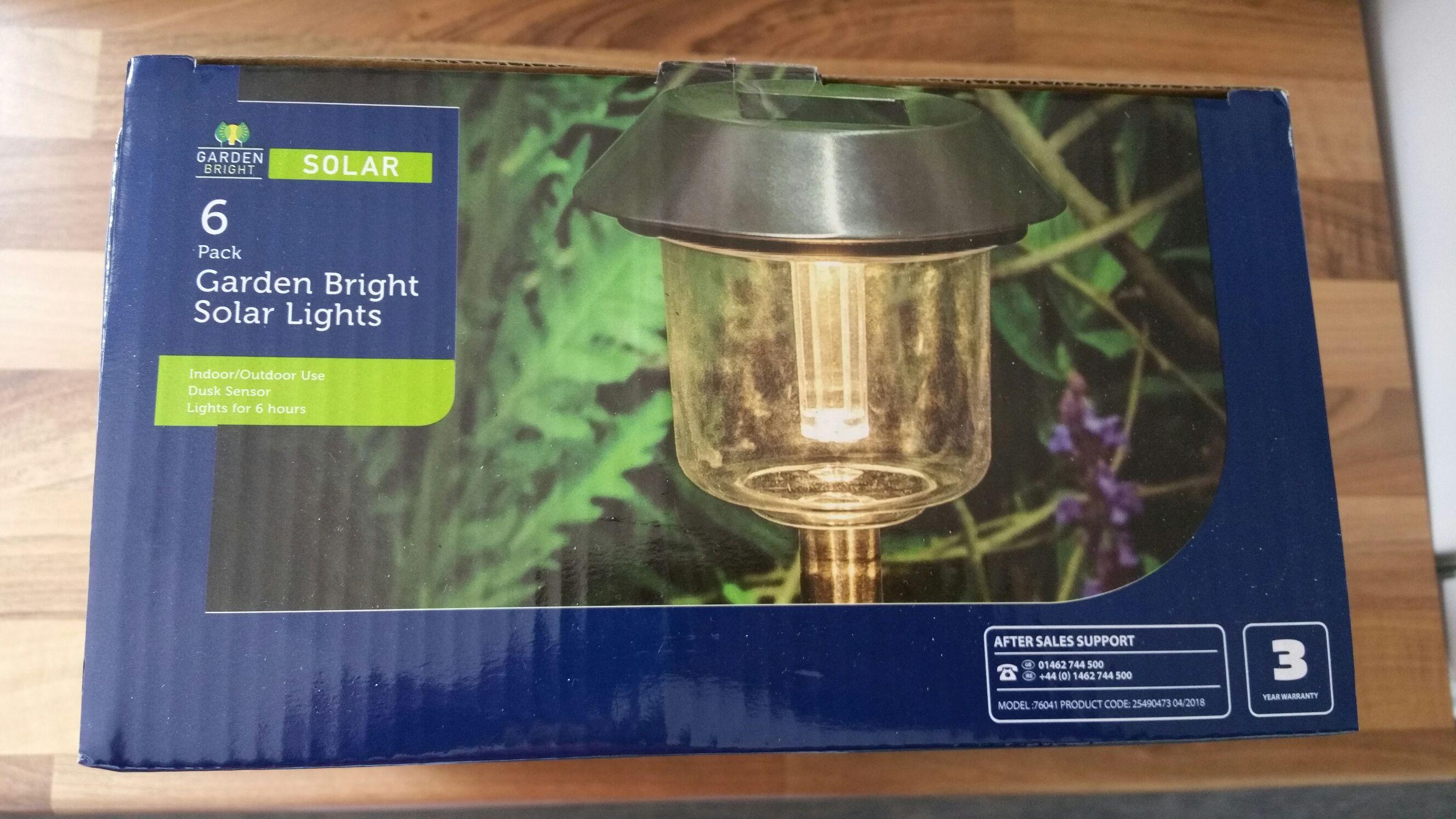 6 x Garden Bright Solar Lights £4.99 @ Aldi