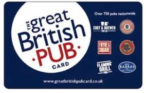 Great British Pub Gift Card 25% off at Sainsbury's £20 card for £15 instore -  Scarborough