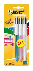 BIC 4 Colours Shine Ballpoint Pens 2+1 PackOnly £2.37 Subscribe & Save at Amazon ( £2.49 add on / £20 minimum spend)