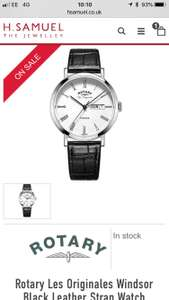 Rotary Les Originales Windsor Black Leather Strap Watch £89 H Samuel