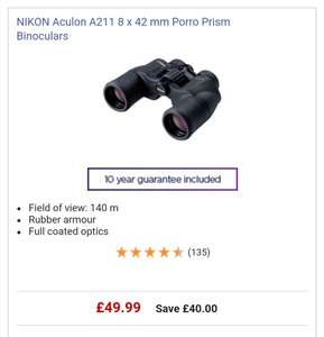 NIKONAculon A211 8 x 42 mm Binoculars £49.99 @ Currys