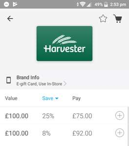 £100 voucher to spend in Harvester for £75 from Zeek