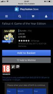 Fallout 4 GOTY PS4 @ PlayStation store uk £19.99